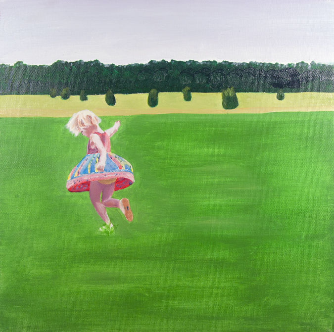 Sketch of Sally Twirling in a Field