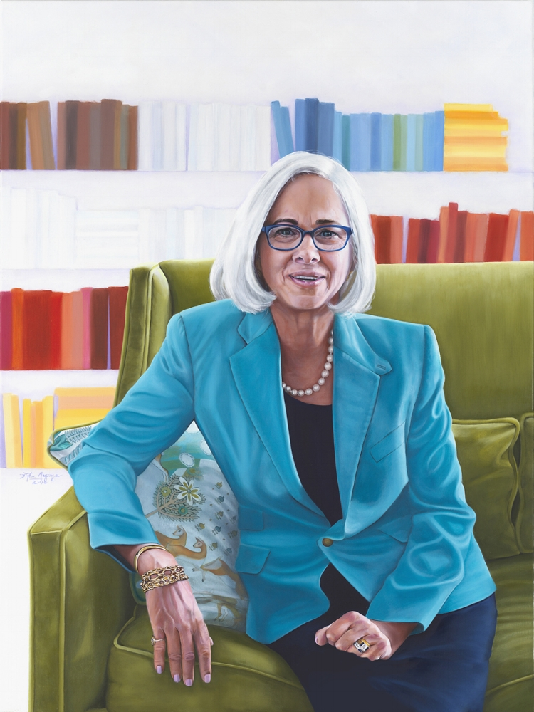 "Priscilla Sands, Head of School, Marlborough School 30"" X 40"" Oil on linen"