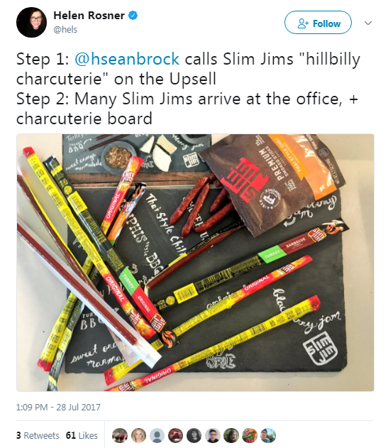 "When @hseanbrock referred to Slim Jims as ""hillbilly charcuterie"", Slim Jim sent a hand-done charcuterie board, perfect for hosting fancy meat stick affairs."