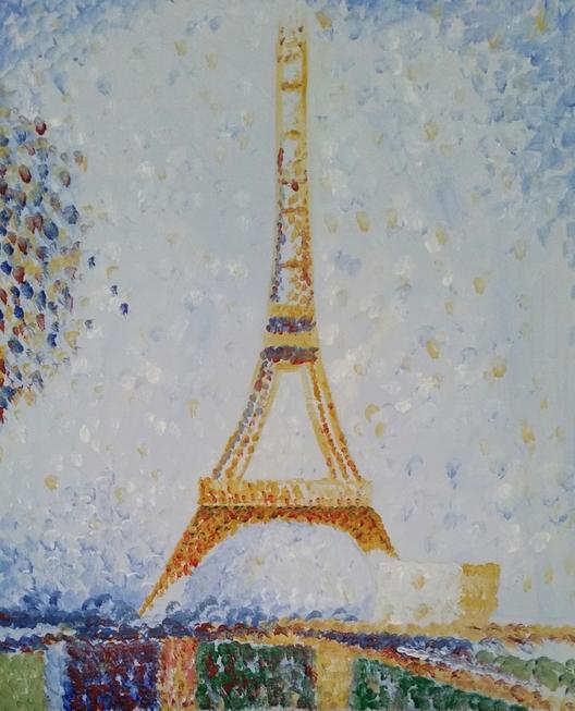 Seurat's Eiffel Tower — Cabernet & Canvas