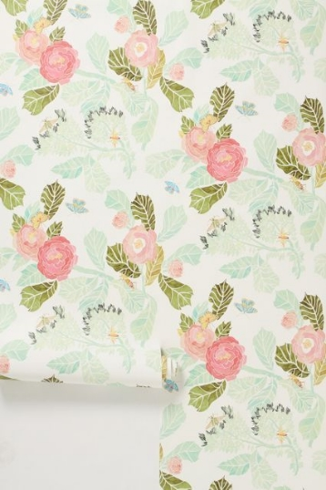 Love this water-coloured Peony wallpaper from  Anthropolog  ie .
