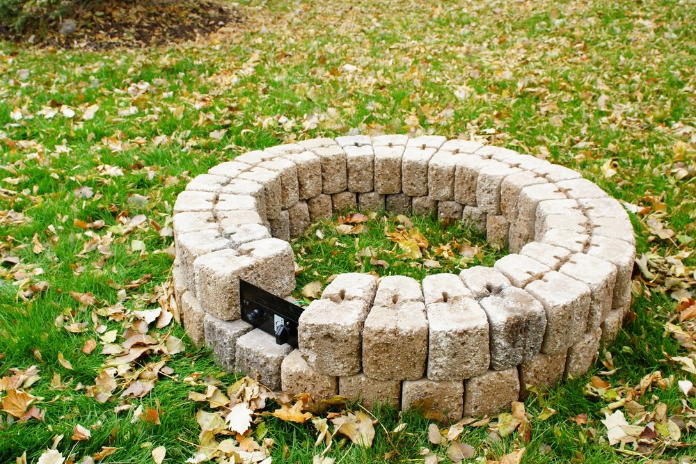 5. Place the next ring of concrete block, leaving space for the control panel and optional vent block. If you choose to forgo the vent block, concrete blocks must have adequate space between them to allow air flow underneath the burner, we recommend at least 10 square inches total. Consult your Gas Burner Kit manual for specific instructions.