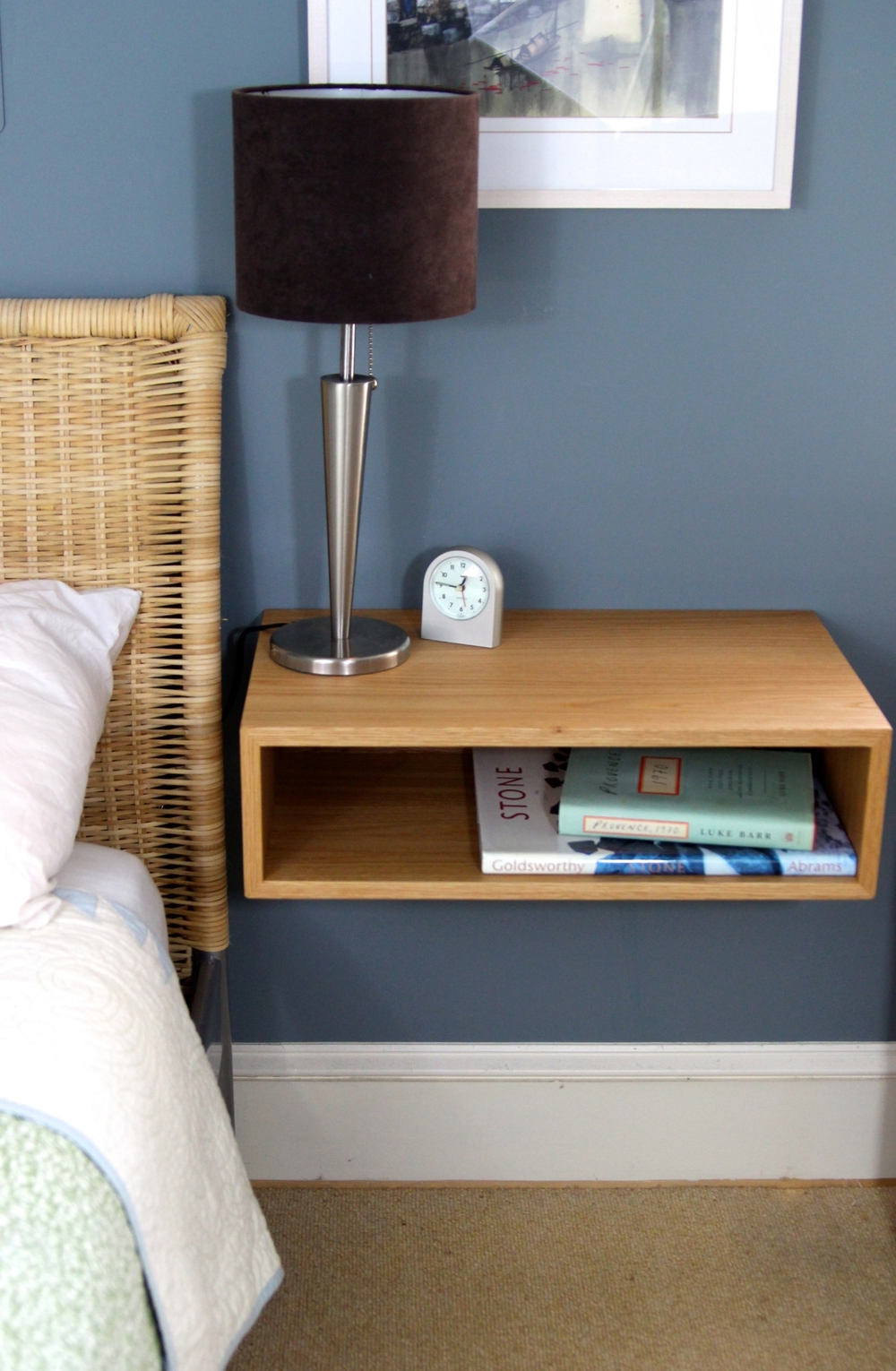 Beau Floating Bedside Table In White Oak