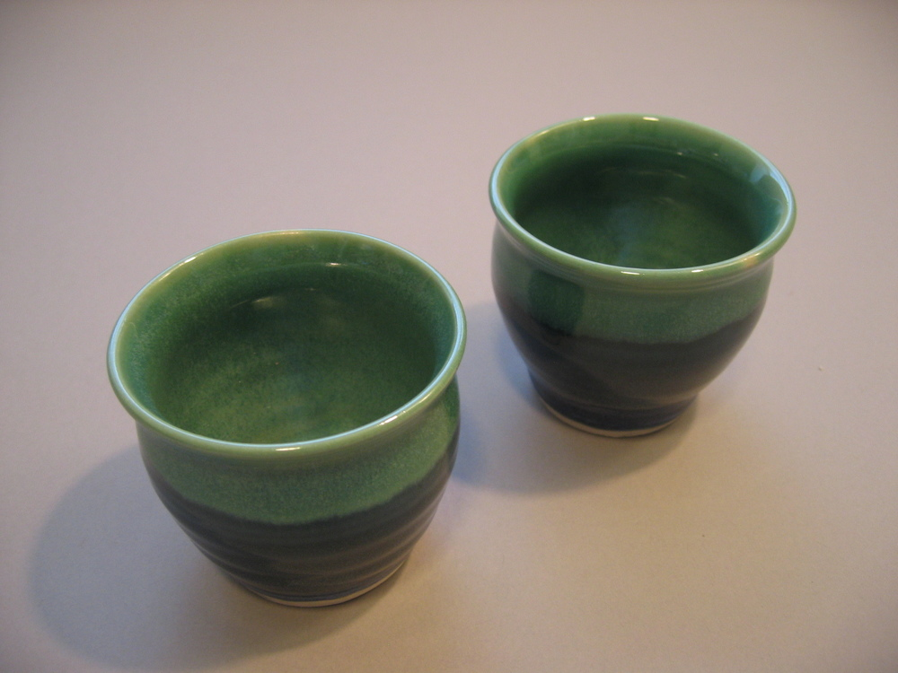 2 Blue Green Cups $15 each