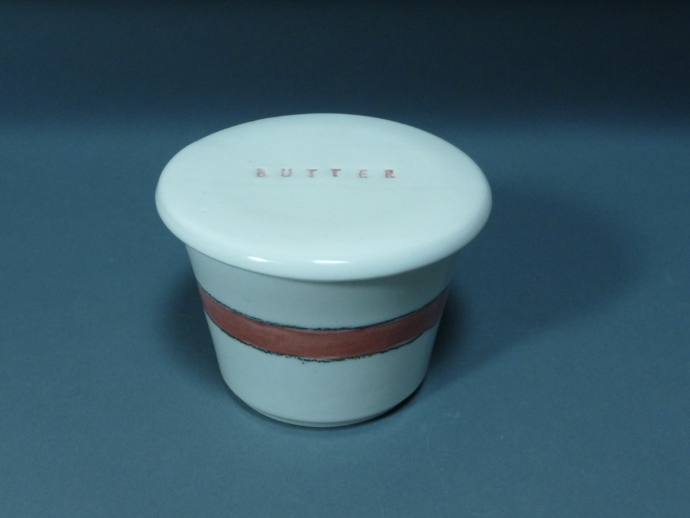 Red & White Butter Keeper $40