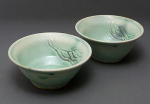 2 Green Wave Dip Bowls