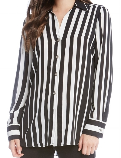 Karen Kane Via Nordstrom - Side Slit Stripe ShirtAvailable in sizes 2-16$119.00 (Sale Price: $79.73)