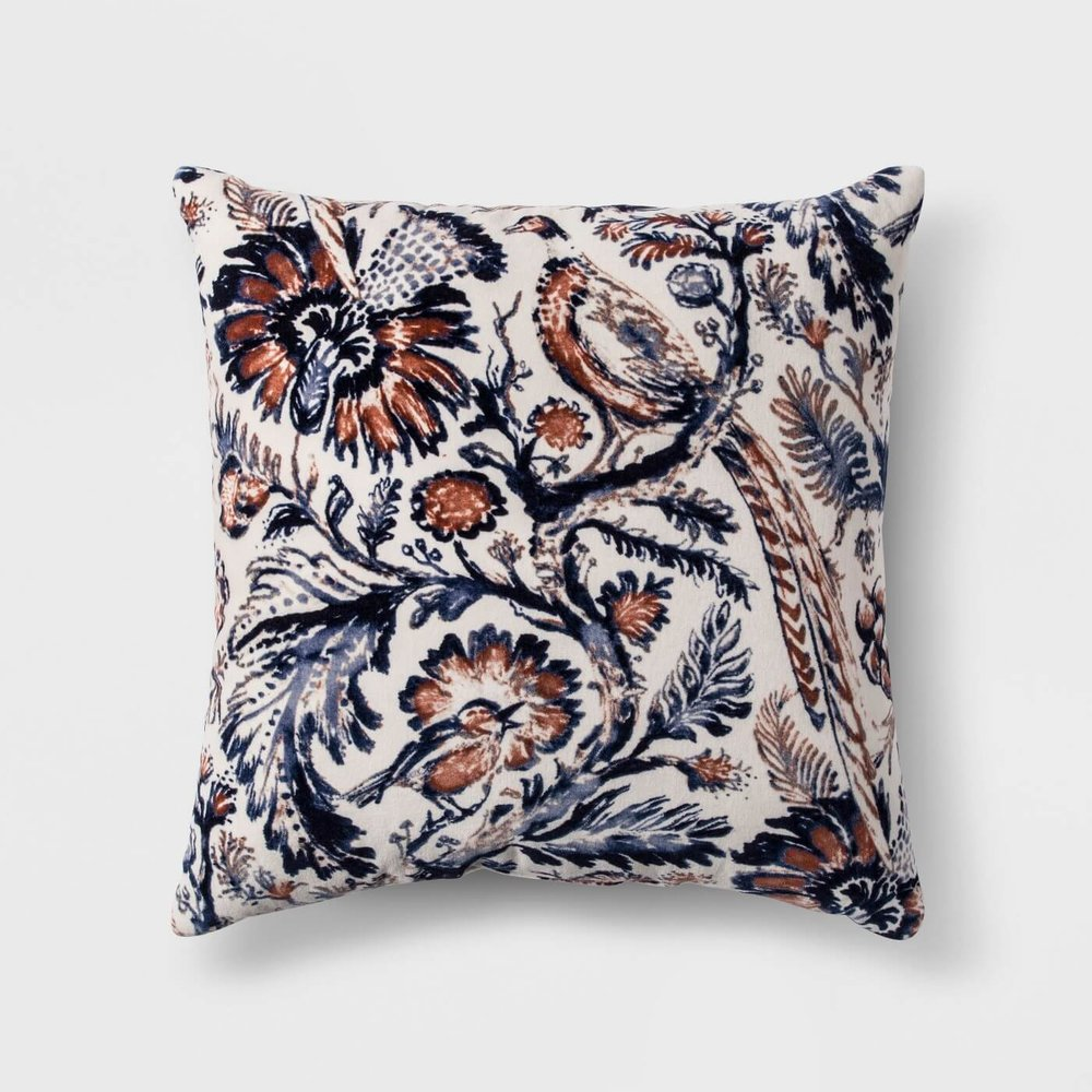f548ec72638 Floral Printed Velvet Throw Pillow by Threshold. PHOTO  COURTESY TARGET