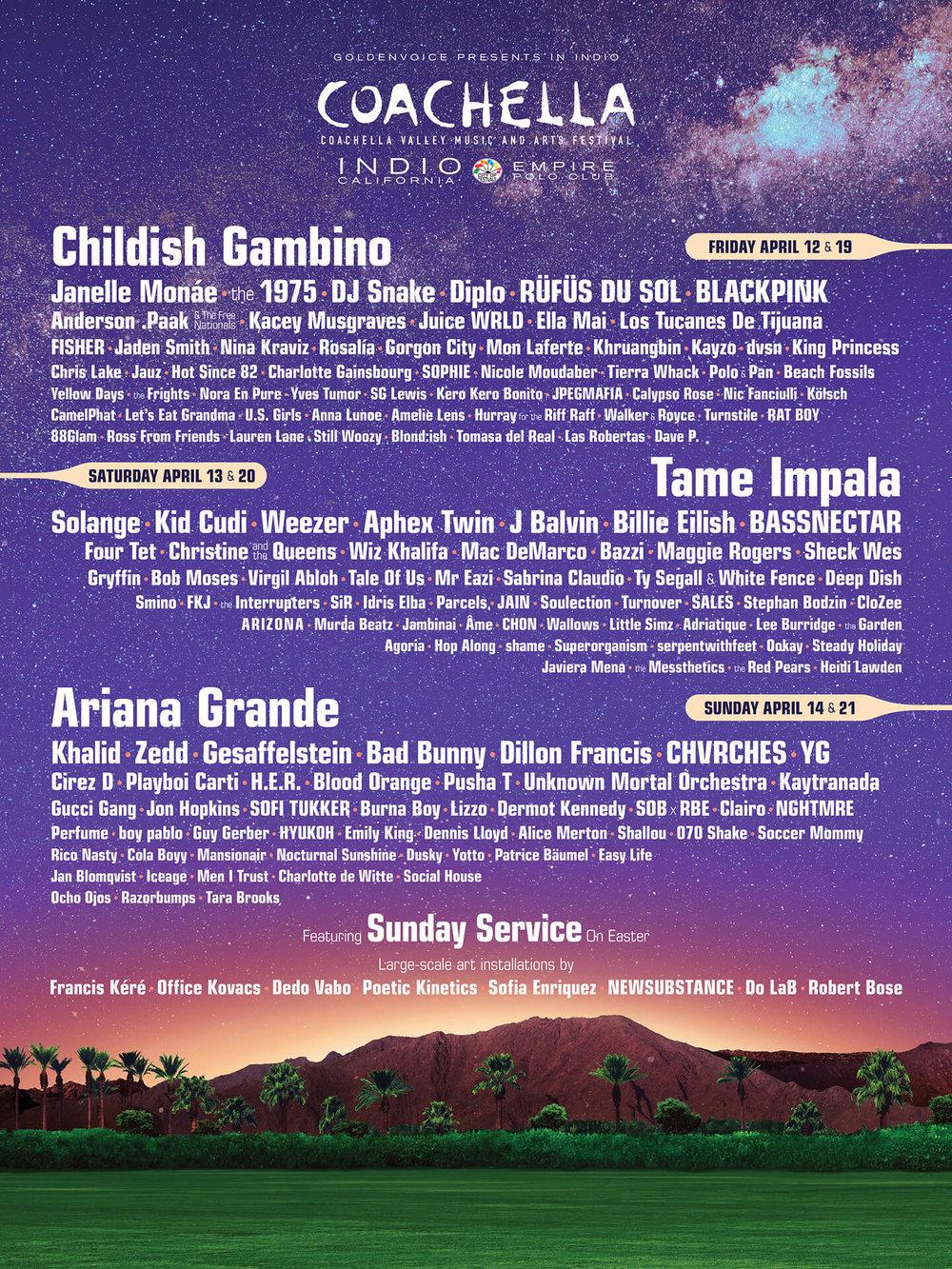 PHOTO: The full 2019 Coachella Lineup. COURTESY the official Coachella Website