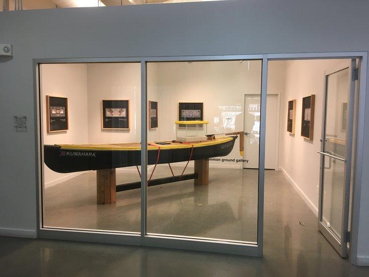 Voyager   Canoe, sprayable rubber, steel, cedar, aluminum, ratchet straps, paint, tar, roofing felt, resin, photographs, glass, road salt