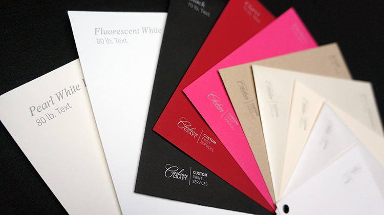 Coordinating Envelopes (in these styles and more)   80# Pearl White 100% Cotton, 80# Fluorescent White 100% Cotton, 70# Black, 70# Claret, 70# Fuchsia, 80# Kraft, 80# Ecru Shimmer, 80# Ecru, 80# White Shimmer, 80# White. Printed return address on back flap and individual recipient addresses available, as well.
