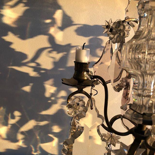 The morning light cast a beautiful shadow of my chandelier. No filter. #morninglight #shadows #chandelier #cutglass #inspiration #art