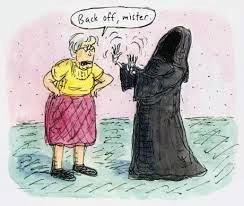 """Ilustração de Roz Chast - sua mãe dizendo """"sai daqui!"""" para a morte."""