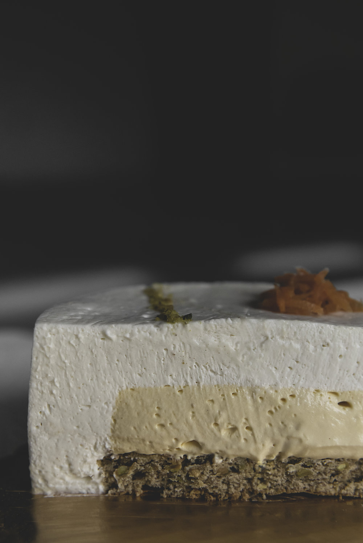 Carrot Cake Entremet & Petit Gâteau - White chocolate cream cheese mousse atop a carrot custard atop a pistachio cinnamon cake. #treatyourself
