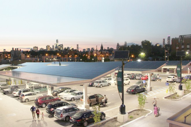 Solar canopies over at friends Whole Foods Gowanus. Image source Solarie.