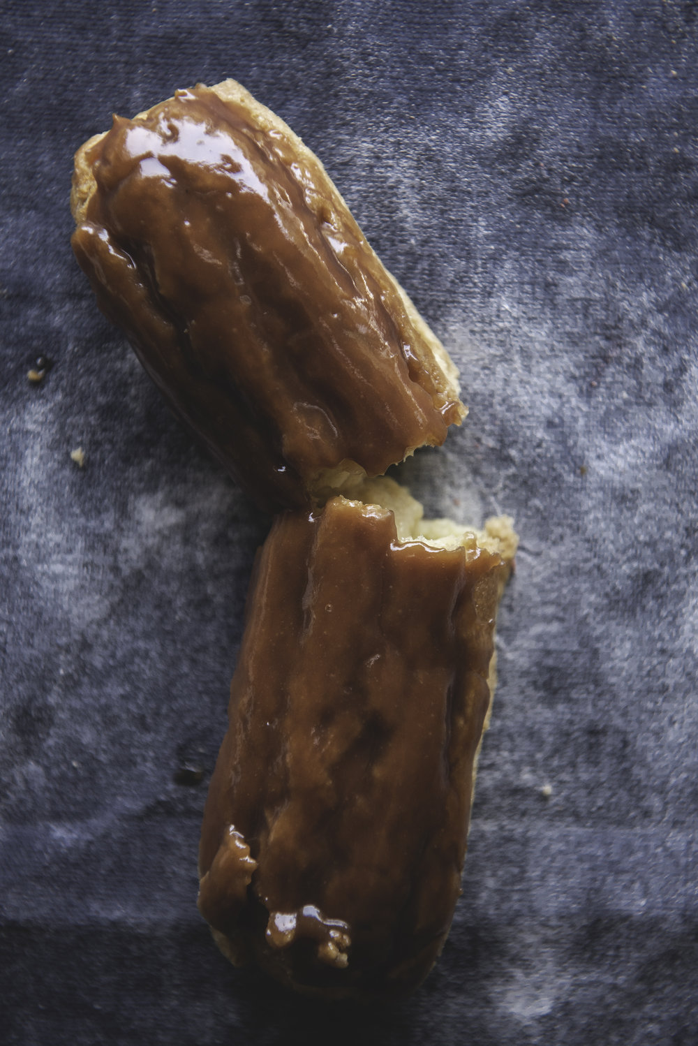 Butterscotch Eclair - Handmade butterscotch sauce is whipped into a classic pastry cream for a lightly sweet petite treat.
