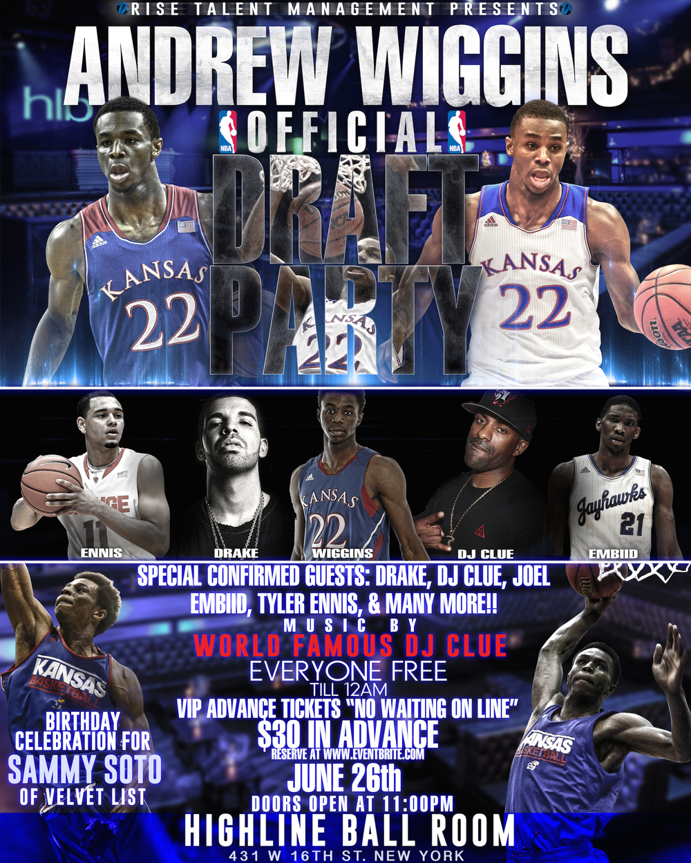 Andrew Wiggins Draft Party Flyer