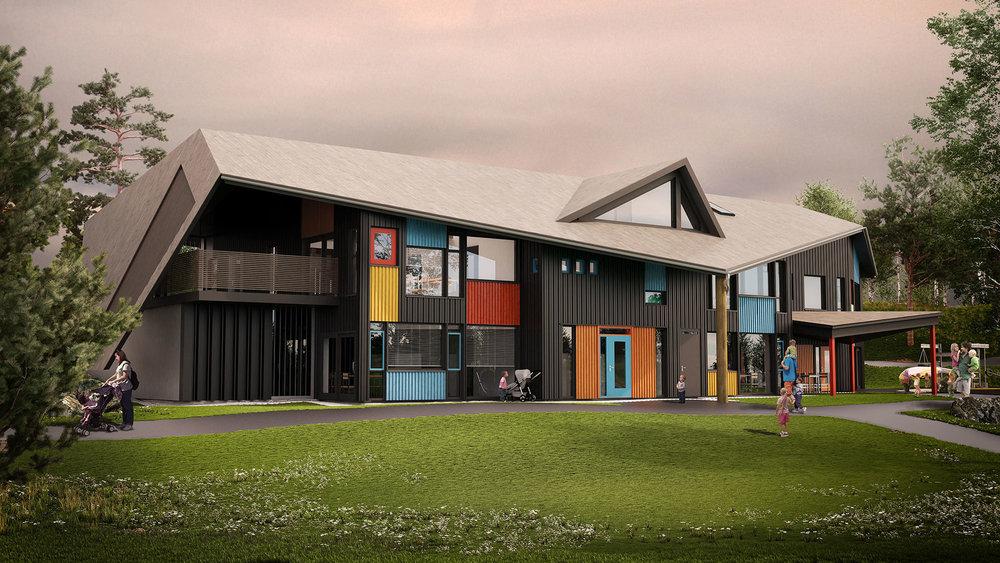 Eksempel på et moderne luftet tak med kompleks takform hvor luftingen er gitt spesiell oppmerksomhet i prosjekteringen. Illustrasjon: Norgeshus.