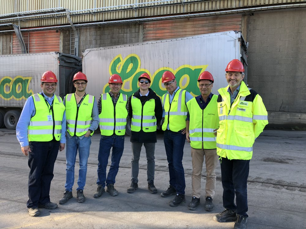 Fra Klima 2050 deltok fra venstre Jose Cepeda, Øyvind Høydal og Anders Solheim fra NGI, og vår nye PhD kandidat på geoteknikk, Hervé Vicari fra NTNU. Fra Leca deltok Oddvar Hyrve, Jon Hauge og Jaran Wood.