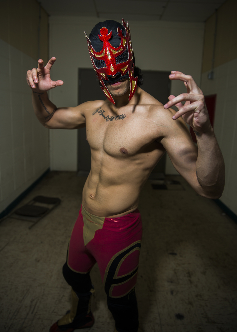 19-year-old Rey Furia of Lucha Libre Gali bypassed a traditional path, instead devoting himself to professional wrestling. He travels almost every weekend across the midwest as a freelance wrestler.