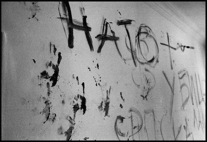 House 19, Kapasnica, Peja. Local residents claim that a Serb paramilitary unit down as  Frankies Boys  tortured and murdered several Kosovar men in this house and wrote messages to NATO in cyrillic with the victims blood.