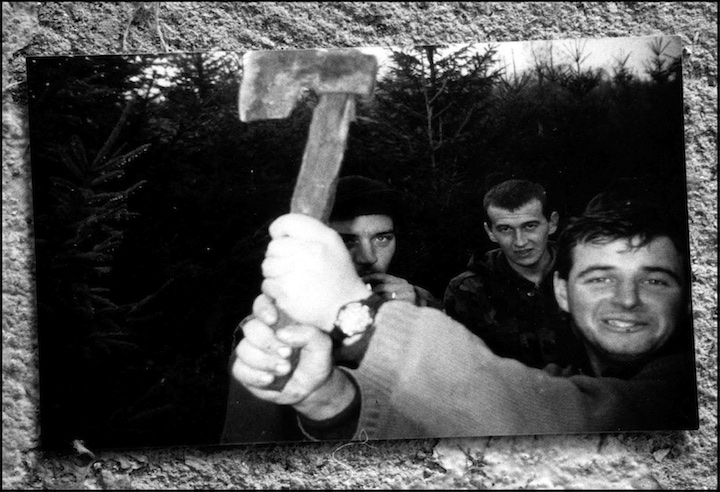 Self portrait made by Serb soldiers.