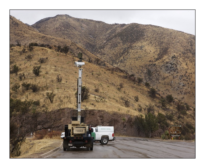 A portable vehicle mounted observation post at Canelo Pass in the Coronado National Forest at the location where the Spanish conquistador Francisco Vasquez de Coronado led the first European migration into what is now the North American Southwest. The border has become one of the most militarized and observed borders in the world. Hi tech industries that are developing drone and other surveillance technologies have a significant presence in the region. Border security is self perpetuating multi-million dollar industry.