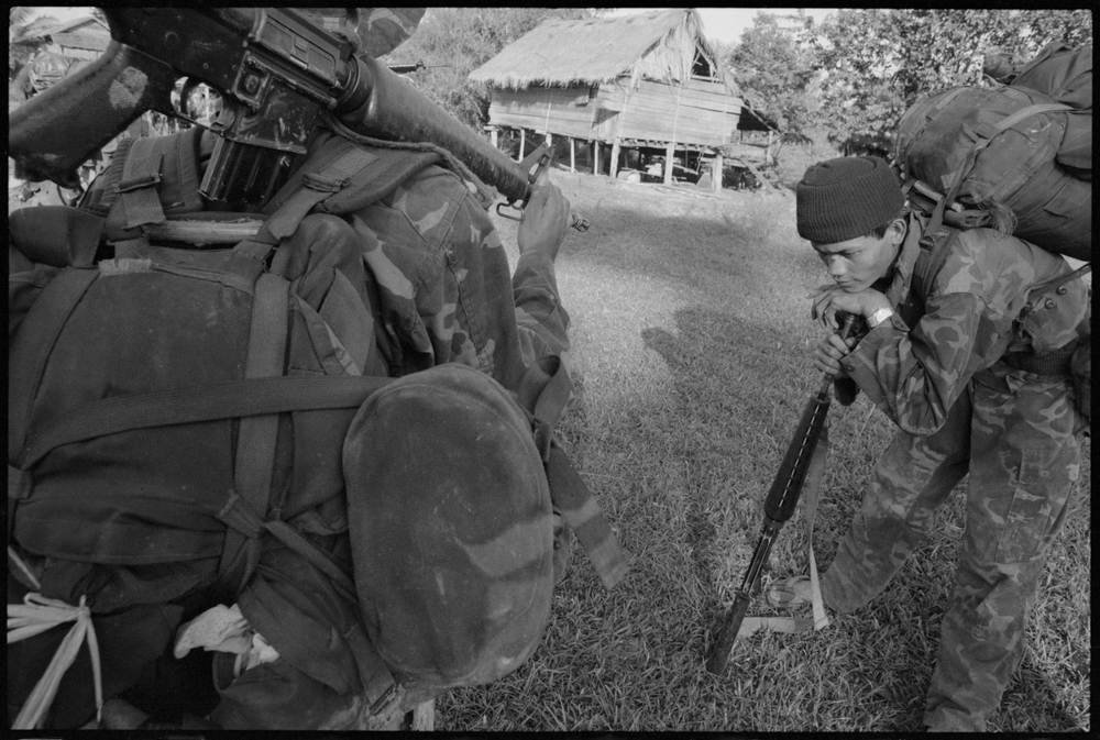 KPNLF soldiers on a long range 6 week mission, Cambodia, 1991