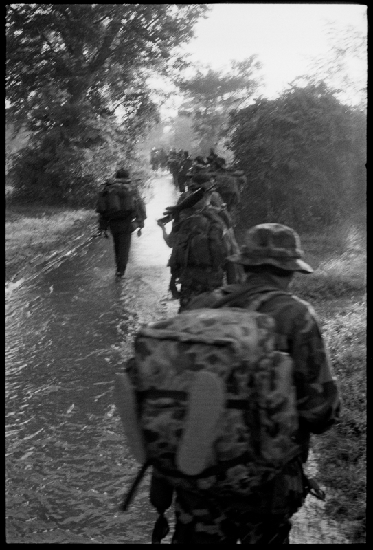 KPNLF soldiers during a long range 6 week mission, Cambodia, 1991