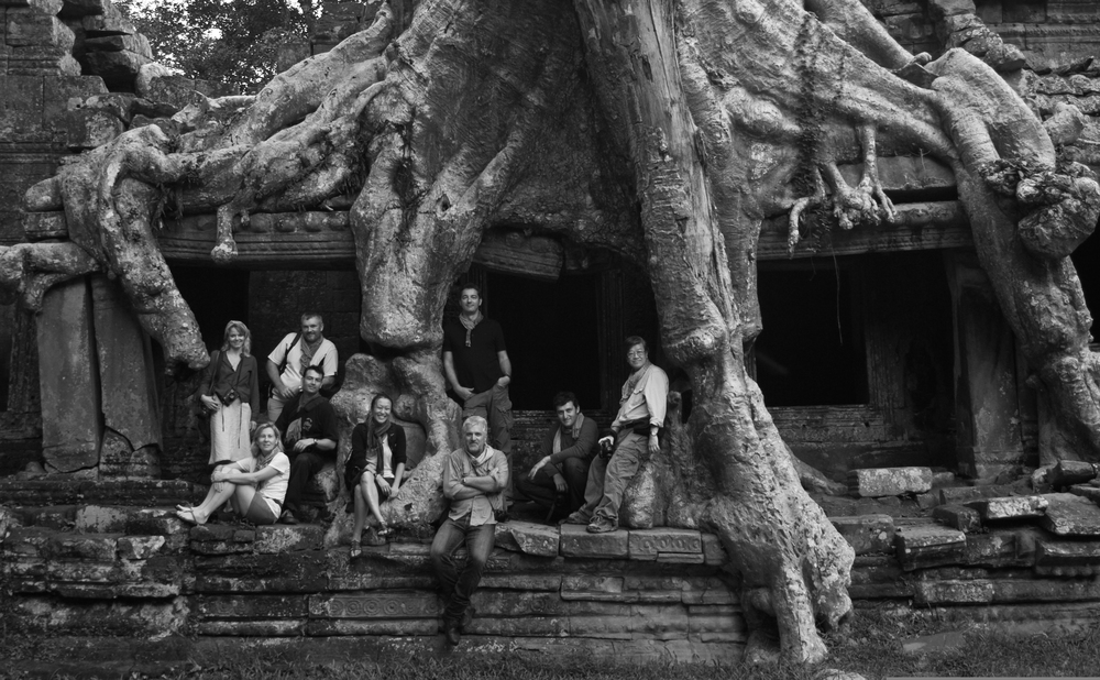 Gary with workshop students in the Angkor temple complex, Siem Reap, Cambodia.
