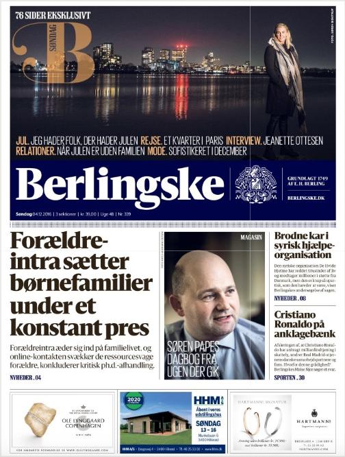 Berlingskes forside 04/12/2016