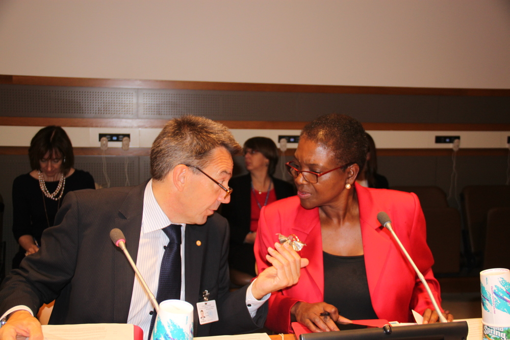 ICRC President, Peter Maurer (left) speaks with UN Under Secretary General, Valerie Amos (right) at the UNGA panel. Copyright: ICRC A Nelso