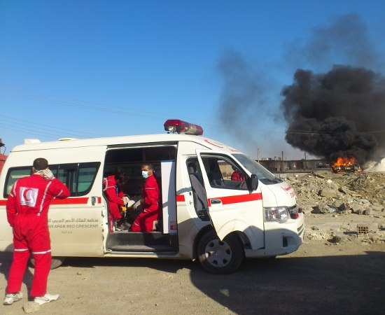 This photo of Syrian Arab Red Crescent first responders was taken in Raqqa. ©SARC – Raqqa