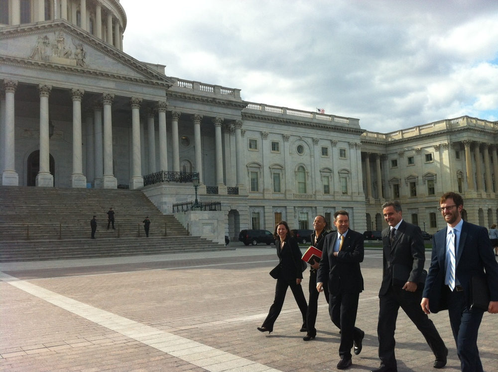 Mr Maurer (pictured center) walks outside the US Capitol Building with colleagues from ICRC headquarters in Geneva and the ICRC's regional delegation in DC on April 9, 2014. ICRC / A Nelson