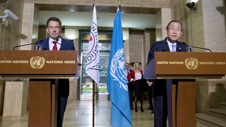 ICRC President Peter maurer and UN Secretary-General Ban Ki-moon issue a joint statement together in geneva on October 31, 2015
