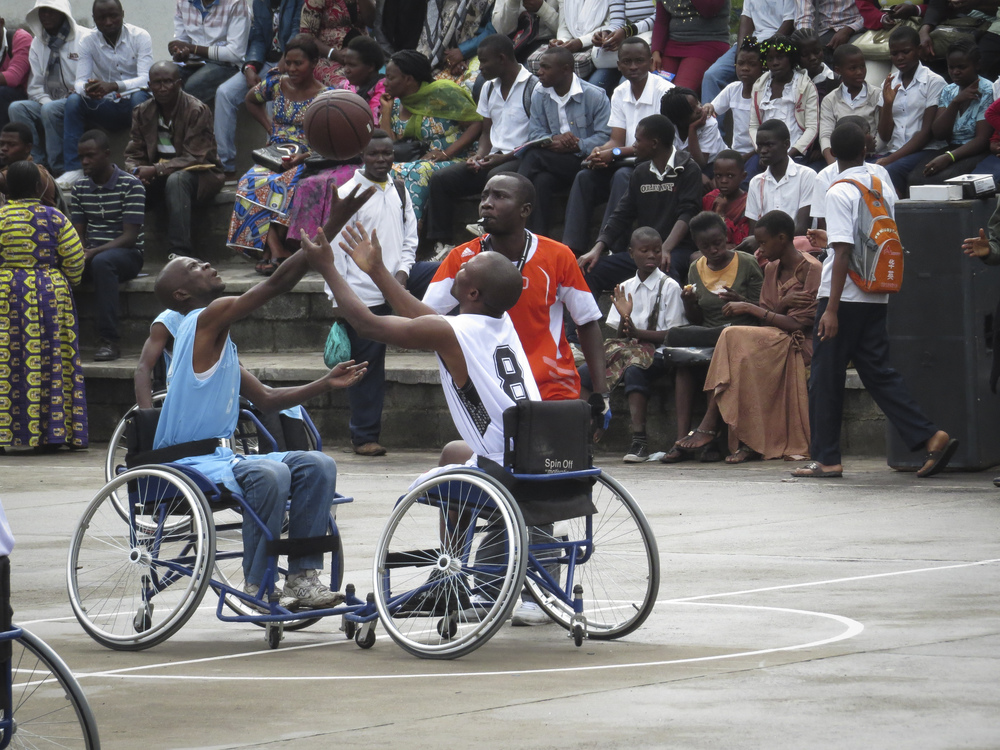 North Kivu, Goma. A basketball game organized for the international day of the disabled.Photographer: elodie SCHINDLER,  ©ICRC.