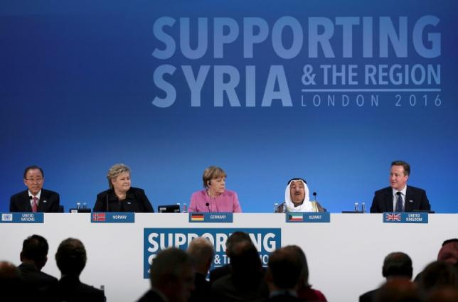 Co-hosts of the  DONORS CONFERENCE FOR SYRIA IN LONDON : United Nations Secretary-General Ban Ki-moon, Norway's Prime Minister Erna Solberg, German Chancellor Angela Merkel, and the Emir of Kuwait, Sheikh Sabah al-Ahmad al-Sabah (L-R). © Reuters/dan kitwood/pool.