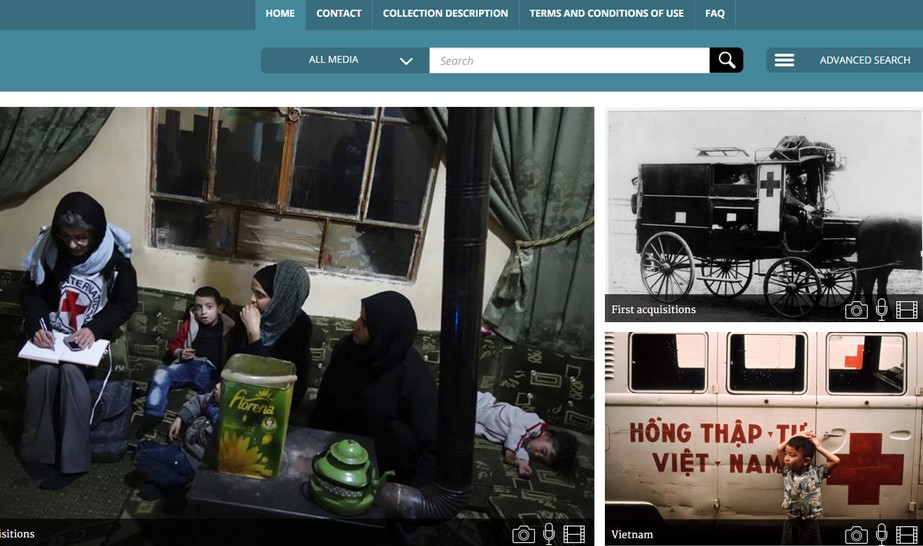A screenshot of icrc's new audiovisual portal, which stores over 6,000 photos, videos, & audio recordings from the organization's 153-year history.