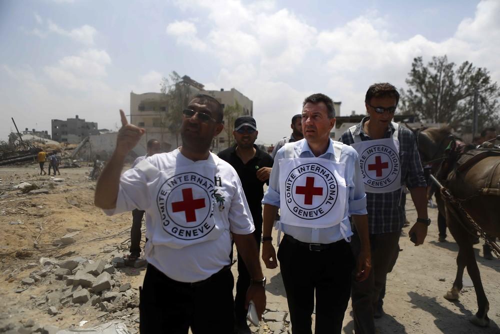 Visit of Peter Maurer, ICRC President, to Shejaeya, Gaza.©HUMEID, Rama/ICRC