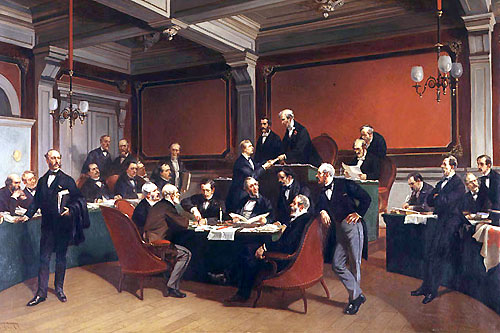 The signing of the Geneva Convention of 1864. Painting by Armand Dumaresq. Copyright ICRC.