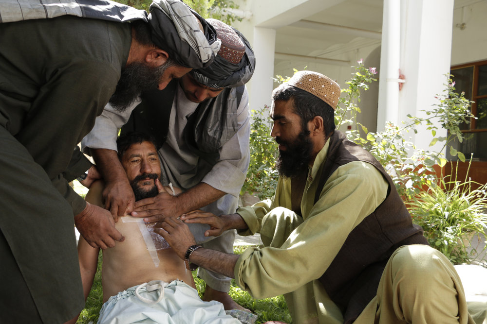 Afghanistan. The ICRC runs first-aid courses for taxi drivers in Afghanistan who transport casualties of the fighting to hospital. Their action is saving lives, according to local doctors.