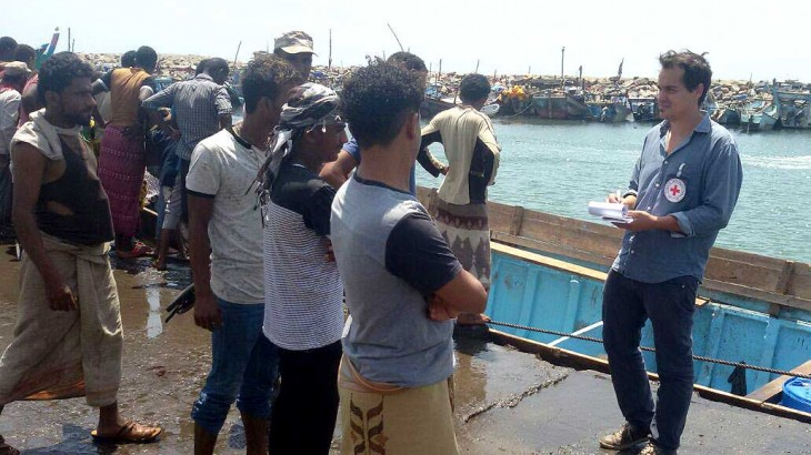 ICRC's Eric Christopher Wyss in Hodeida, talking to first responders following the civilian ship attack.