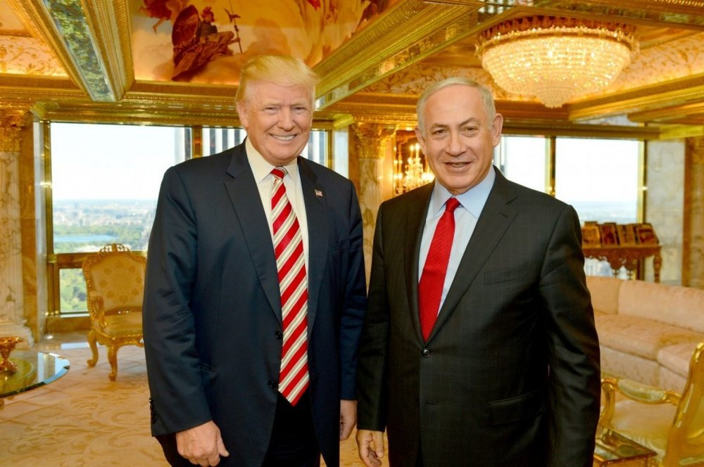 Then-candidate Trump met with Israeli Prime Minister Benjamin Netanyahu in September. (Handout via Reuters)