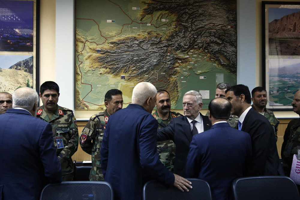 U.S. Defense Secretary James Mattis, center, meets with Afghan military leaders in Kabul, Afghanistan. Photo Courtesy of The New York Times/Johnathan Ernst