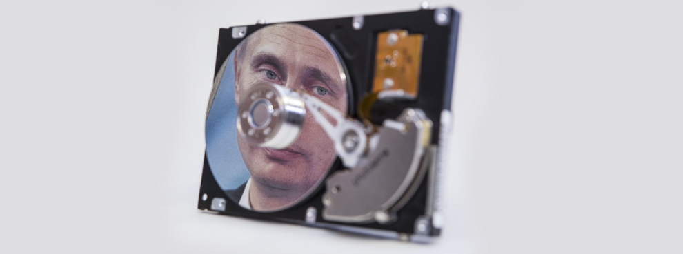 A computer hard drive showing the portrait of Russian President Putin (Ulrich Baumgarten/Getty Images)