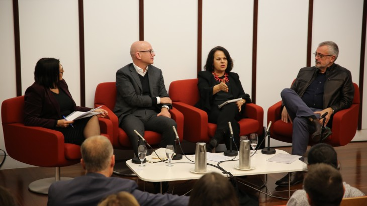 Dr Caroline Fisher, Yves Daccord, Helen Vatsikopoulos and Peter Cave at the War on Words panel event in Canberra