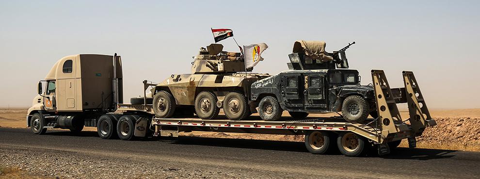 Armored vehicles belonging to Iraqi Popular Mobilization Units near Tal Afar, August 31, 2017 (AHMAD AL-RUBAYE/AFP/Getty Images)