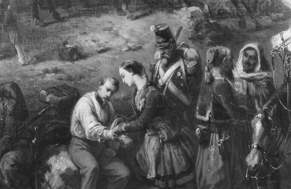 Battle of Solferino, June 1859. A wounded soldier being treated by a woman from the town Castiglione, Italy.