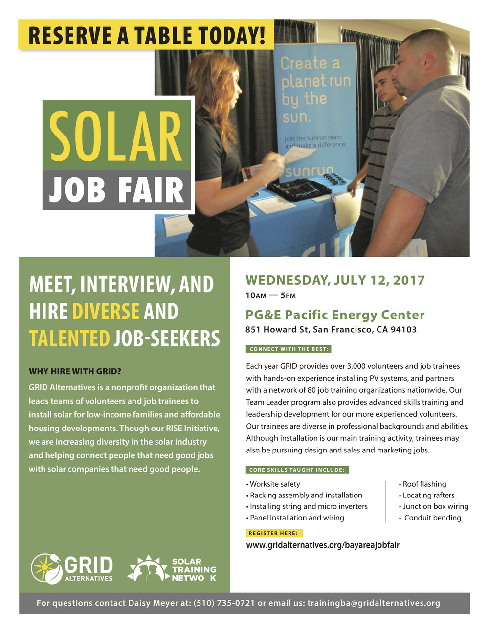 Solar Jobs Fair Flyer 2017