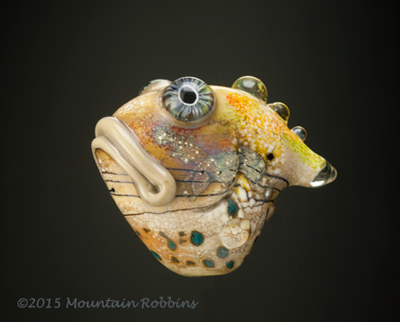 The Dude . Lampwork sculptural glass bead by Wayne Robbins.